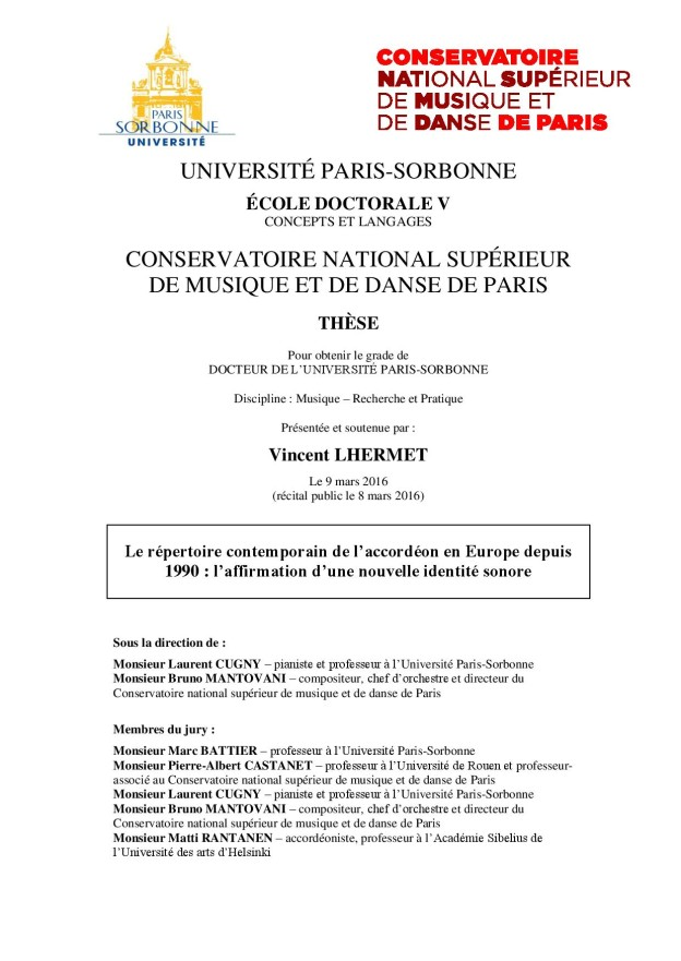 Doctoral Dissertation About Accordion
